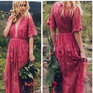 ⚡️Raspberry Boho Laced Maxi Dress
